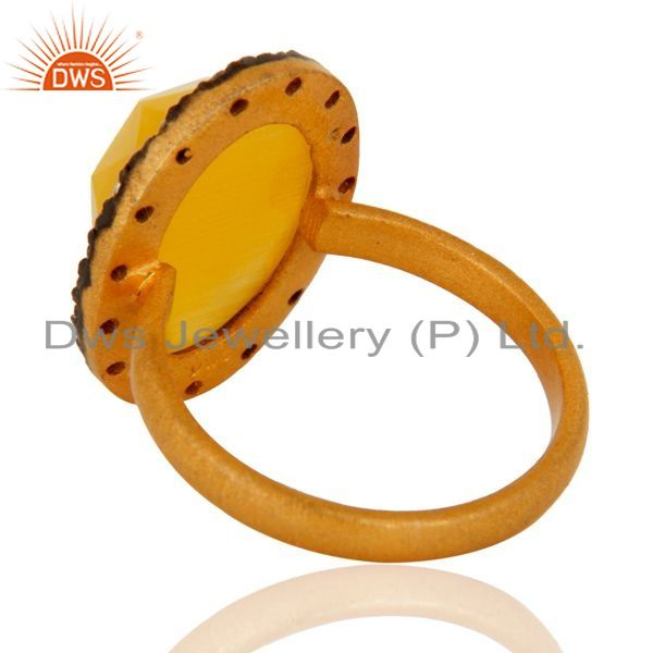Suppliers 24k Gold Plated Sterling Silver Moonstone Gemstone Ring With CZ