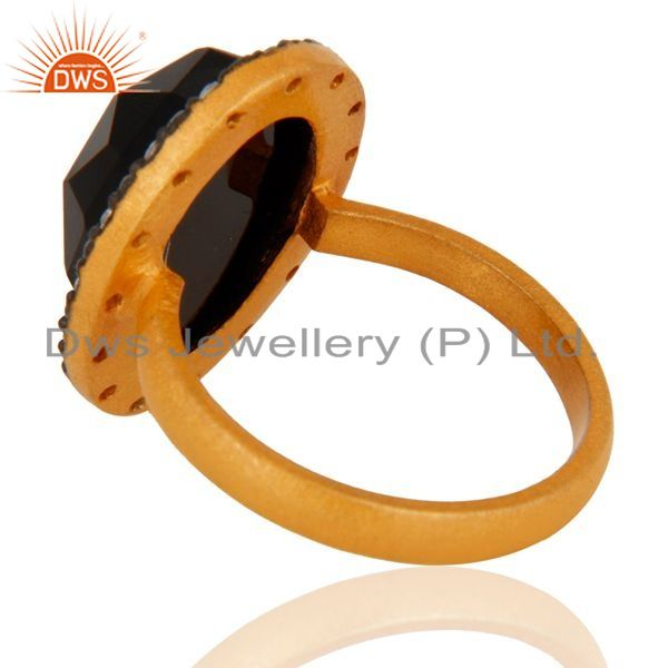 Suppliers 925 Sterling Silver Natural Black Onyx Gemstone Ring With 24K Gold Plated