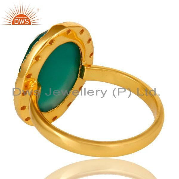Suppliers 18K Yellow Gold Plated Sterling Silver Green onyx And CZ Statement Ring