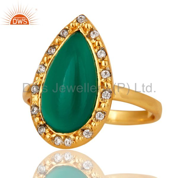 Suppliers Green Onyx and White Zircon 18K Gold Plated Handmade Statement Ring
