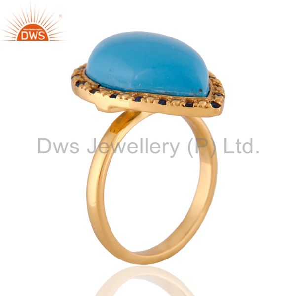 Suppliers 18k Gold Plated Turquoise Gemstone Blue Sapphire Sterling Silver Ring SZ 7