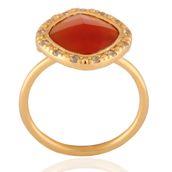 Suppliers 18K Gold Plated Sterling Silver Red Onyx And White Topaz Stack Ring