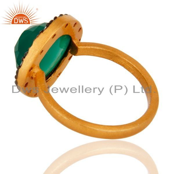 Suppliers Green Onyx Gemstone 22K Yellow Gold Plated 925 Sterling Silver Ring With CZ