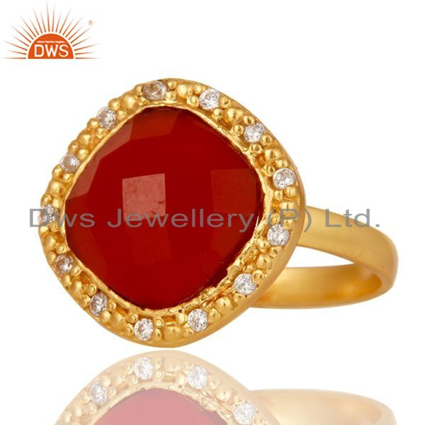 Suppliers White Zircon & Red Onyx Semi Precious Stone Sterling Silver 18k Gold GP Ring