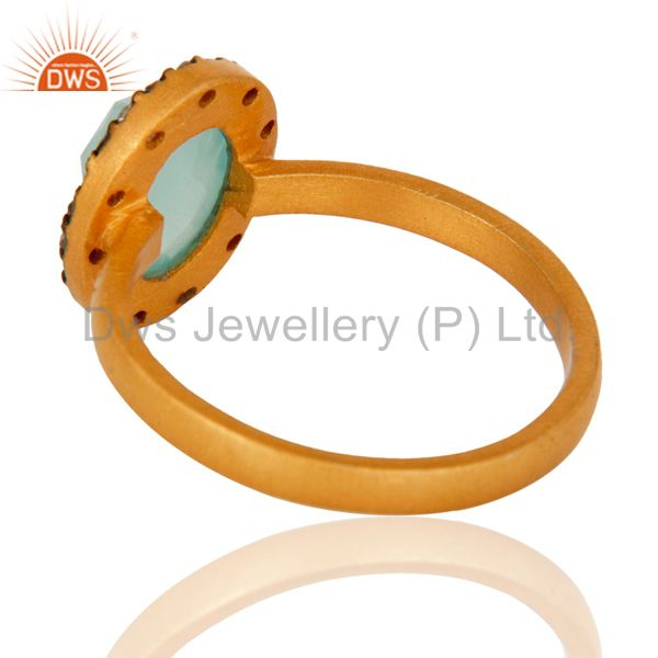 Suppliers 18K Yellow Gold Plated 925 Sterling Silver Blue Aqua Glass & White Zircon Ring