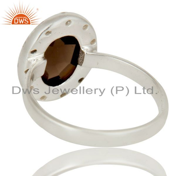 Suppliers Solid Sterling Silver Smoky Quartz And CZ Statement Ring