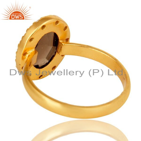 Suppliers 18K Gold Plated Sterling Silver Smoky Quartz And CZ Statement Ring