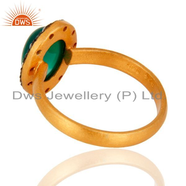 Suppliers 18K Yellow Gold Plated 925 Sterling Silver Green Onyx Gemstone Ring With CZ