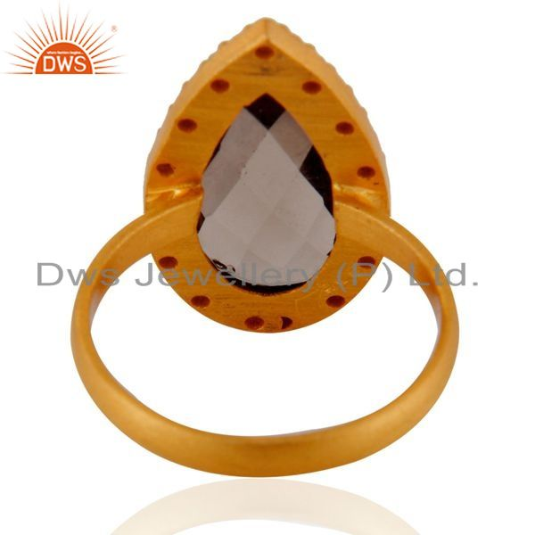 Suppliers Smoky Quartz And Cubic Zirconia Sterling Silver Ring - Gold Plated