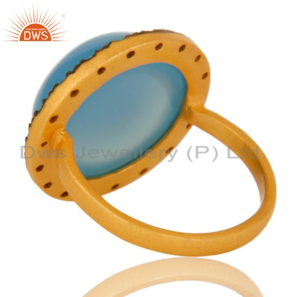 Suppliers 18K Yellow Gold Plated Sterling Silver Blue Chalcedony Cocktail Ring With CZ