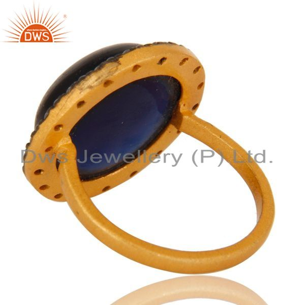 Suppliers 18K Yellow Gold Plated Sterling Silver Blue Corundum Cocktail Ring With CZ