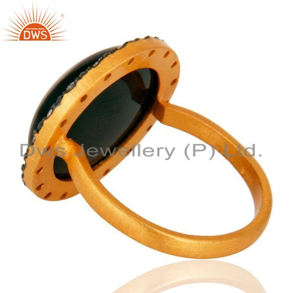 Suppliers 24K Gold Plated Sterling Silver Black Onyx Gemstone Handmade Designer Ring W/ CZ