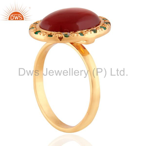 Suppliers 24K Gold Plated Red Onyx Semi Precious Stone 925 Sterling Silver Emerald Ring