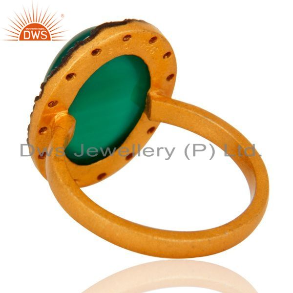 Suppliers Handmade Green Onyx Cabochon Gemstone 925 Sterling Silver 24k Gold Plated Ring
