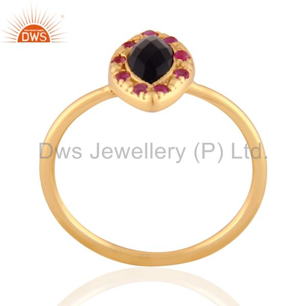 Suppliers 18k Gold Plated Black Onyx Gemstone 925 Sterling SIlver Ruby Stackable Ring