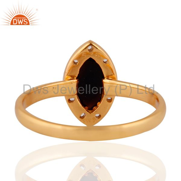 Suppliers White Topaz Gemstone Onyx 925 Sterling Silver Yellow Gold Plated Stackable Ring