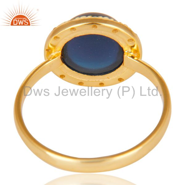 Suppliers 18K Gold Plated 925 Sterling Silver Blue Corrundum & White Topaz Cocktail Ring