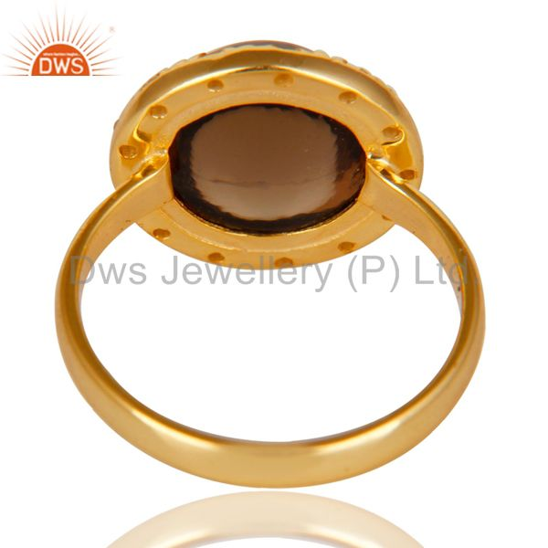 Suppliers 14K Gold Plated 925 Sterling Silver Smokey Topaz & White Topaz Cocktail Ring