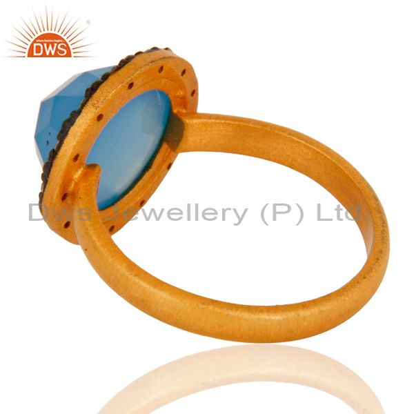 Suppliers 22K Gold Plated 925 Sterling Silver Blue Aqua Chalcedony Gemstone Ring With CZ