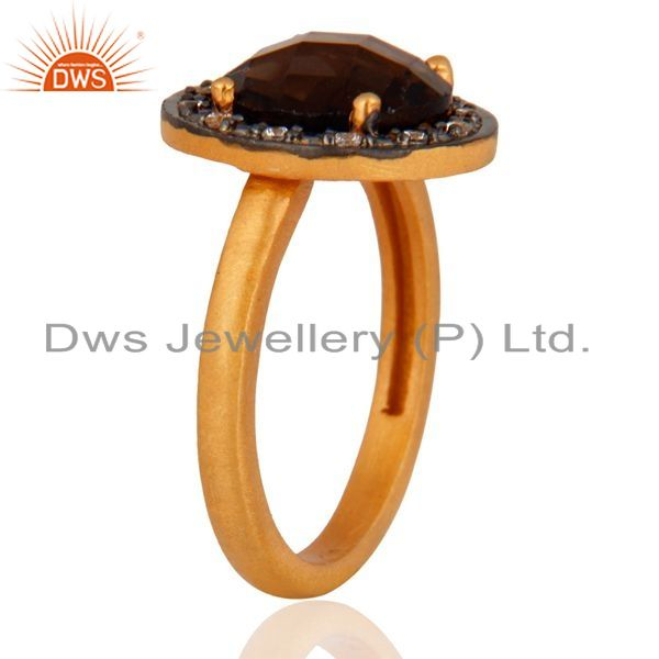 Suppliers 18K Gold Over Sterling Silver Prong Set Smoky Quartz And Cubic Zirconia Ring