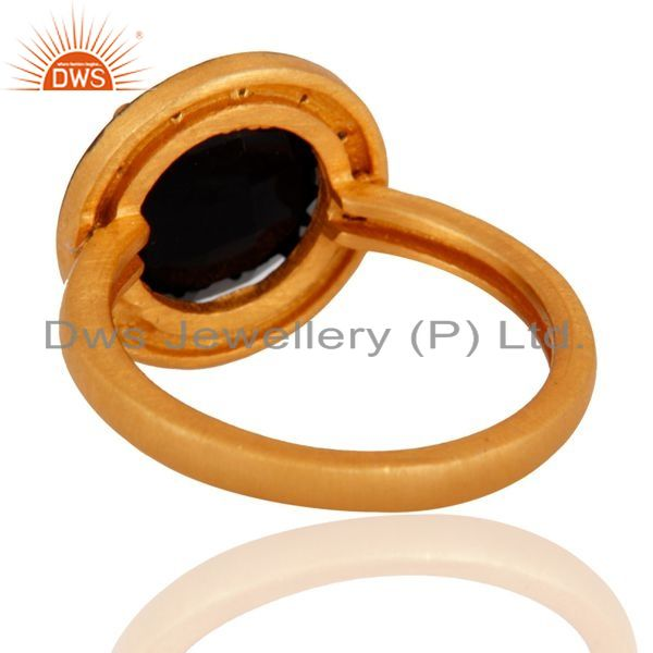 Suppliers 18K Gold Plated Sterling Silver Prong Set Black Onyx Ring With CZ