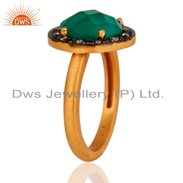 Suppliers 18K Gold Over Sterling Silver Green Onyx Gemstone Prong Setting Ring With CZ
