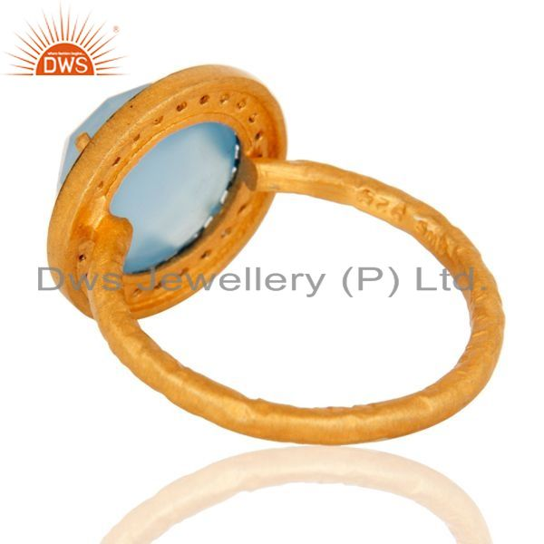 Suppliers Aqua Blue Chalcedony Ring With CZ Made In 18K Gold Over Sterling Silver Jewelry