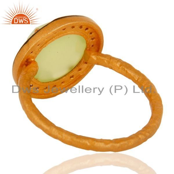 Suppliers Handmade 24K Gold Plated Prehnite Chalcedony 925 Sterling Silver Stack Ring