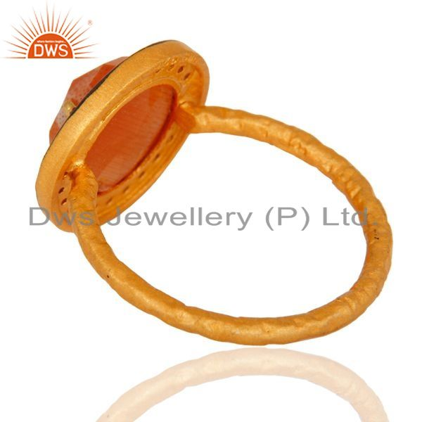 Suppliers 22K Yellow Gold Plated 925 Sterling Silver Peach Moonstone And White Zircon Ring