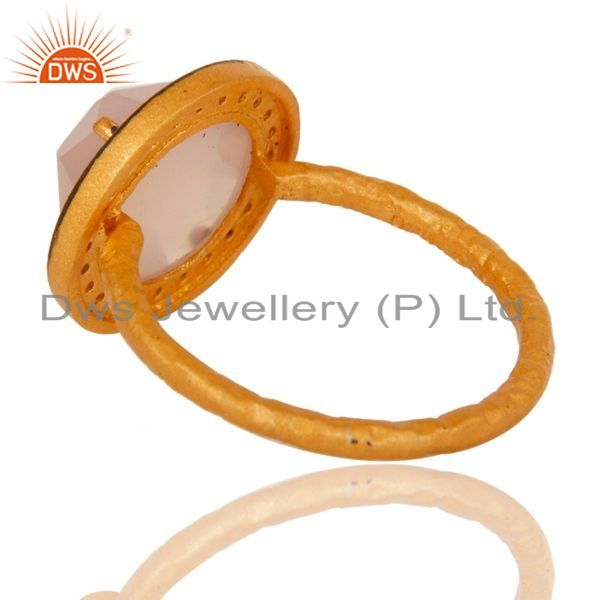 Suppliers 925 Sterling Silver Yellow Gold Flashed Prong Set Rose Chalcedony Ring