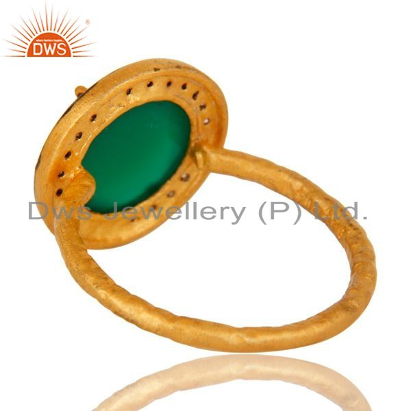 Suppliers 18K Yellow Gold Plated Sterling Silver Green Onyx And CZ Hammered Band Ring