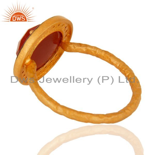 Suppliers 925 Sterling Silver Red Onyx Gemstone 22K Gold Plated Handmade Hammered Ring