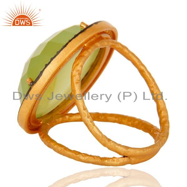 Suppliers Natural Prehnite Chalcedony Faceted Gemstone Ring Made in 18K Gold On 925 Silver