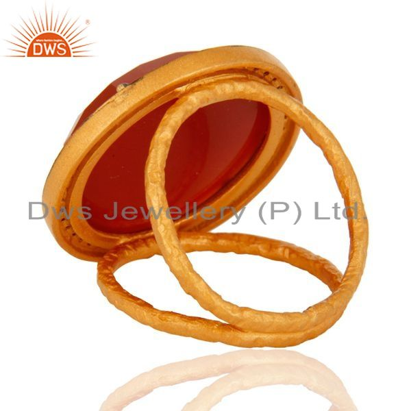 Suppliers 22K Yellow Gold Plated Red Onyx Gemstone Prong Set Sterling Silver Ring With CZ