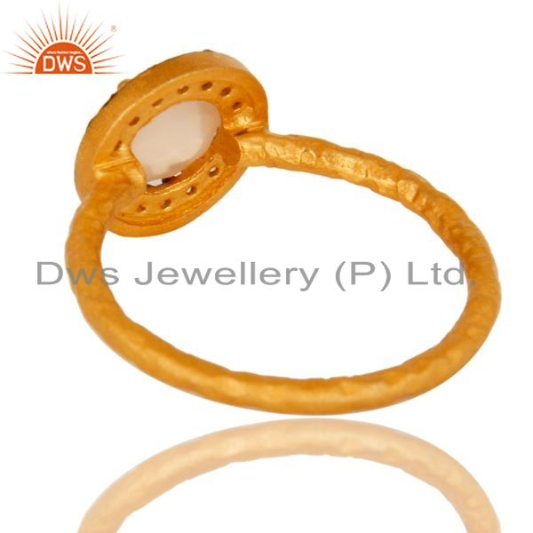 Suppliers Dyed Rose Chalcedony And CZ 14K Yellow Gold Plated Sterling Silver Stacking Ring
