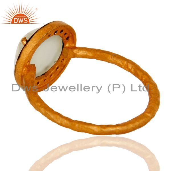 Suppliers Chalcedony Gemstone Stacking Ring With CZ In Sterling Silver With Gold Plated