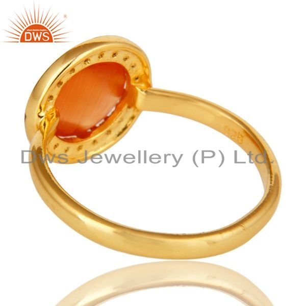 Suppliers Shiny 18K Gold Plated Sterling Silver Peach Moonstone And CZ Stackable Ring