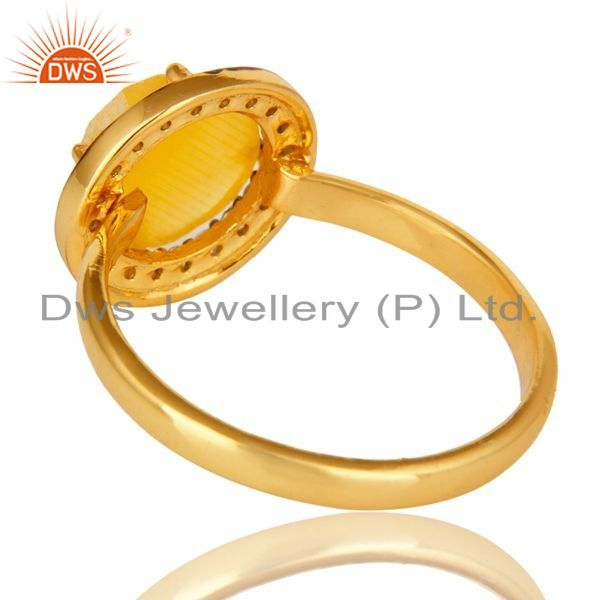 Suppliers Stunning 14K Gold Plated Sterling Silver Yellow Moonstone Stone Stackable Ring