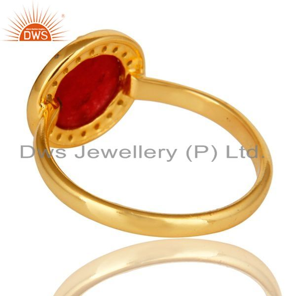 Suppliers 18K Yellow Gold Plated Sterling Silver Red Aventurine Stackable Ring With CZ