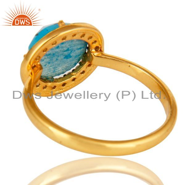Suppliers Shiny 18K Yellow Gold Plated Sterling Silver Turquoise And CZ Stackable Ring