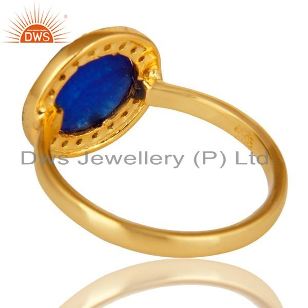 Suppliers 14K Yellow Gold Plated Sterling Silver Blue Aventurine And CZ Stackable Ring