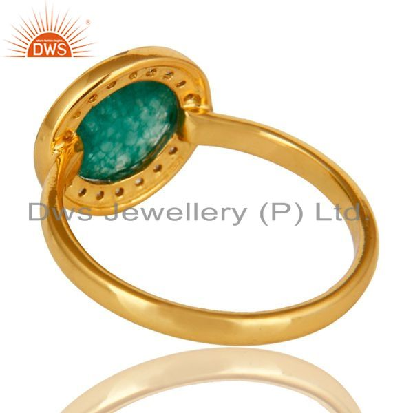 Suppliers Green Aventurine And CZ Stunning 14K Yellow Gold Plated Sterling Silver Ring