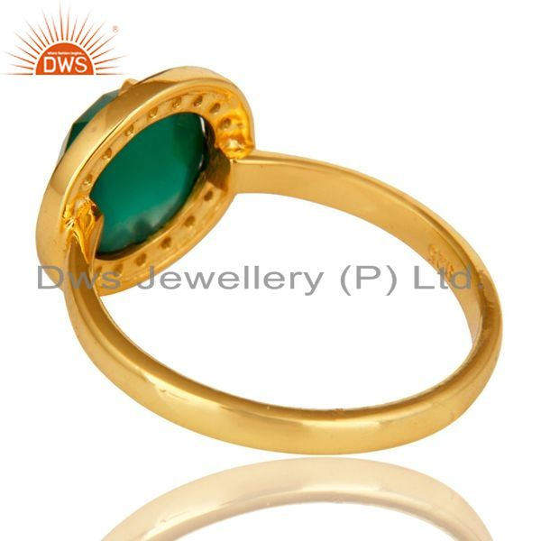 Suppliers 14K Yellow Gold Plated Sterling Silver Green Onyx Stone Stackable Ring With CZ