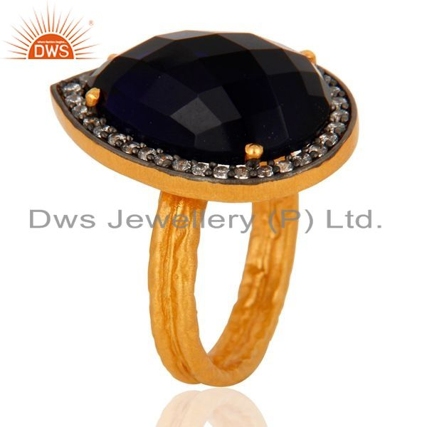 Suppliers 18k Gold Over Sterling Silver Created Blue Sapphire Two Stack Hammered Band Ring