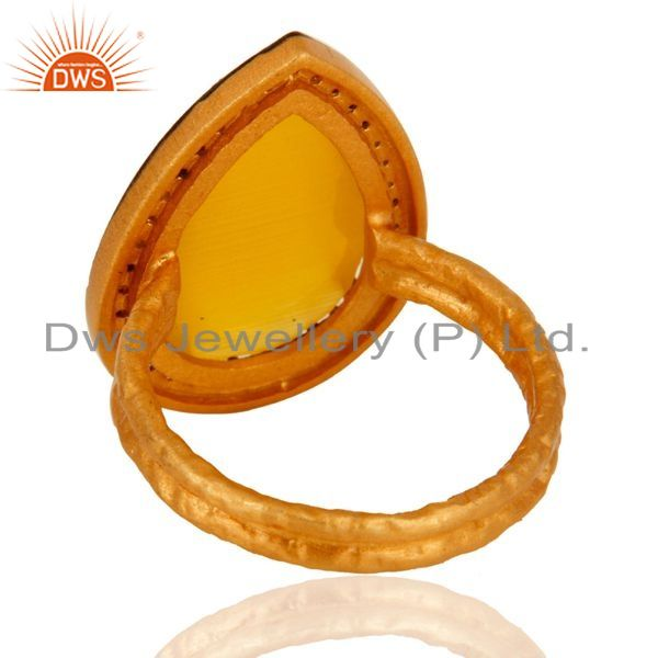 Suppliers 18k Gold Plated 925 Sterling Silver Yellow Moonstone Prong Set Designer Ring