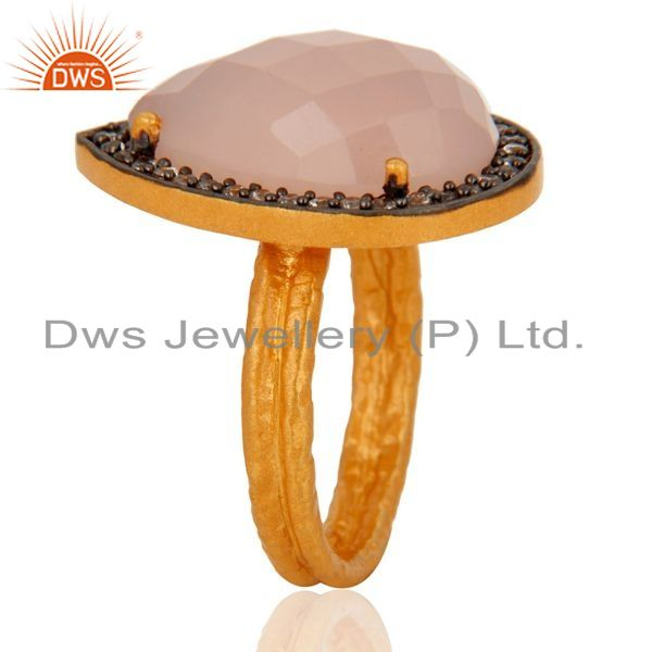 Suppliers Handmade 925 Sterling Silver Genuine Rose Chalcedony Gold Plated Ring With CZ