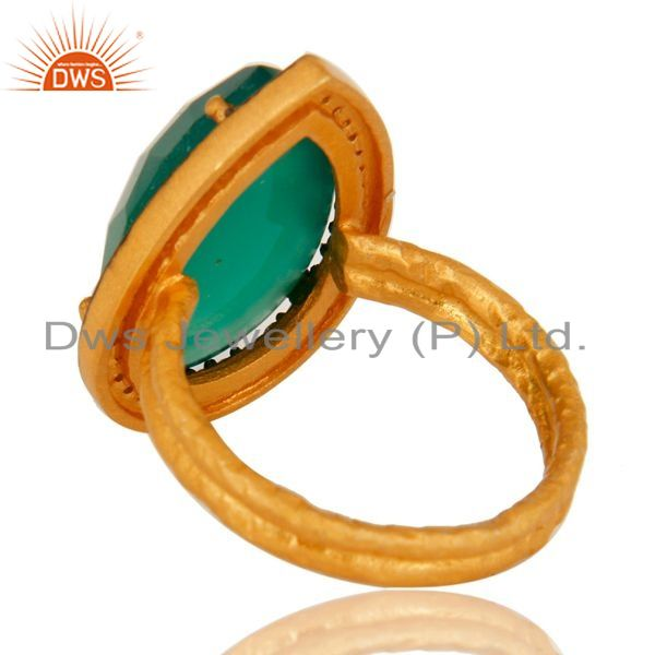 Suppliers 18k Gold Plated Sterling Silver Prong Set Green Onyx Gemstone Ring With CZ