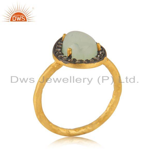 Suppliers Aqua Chalcedony Gemstone 925 Silver Yellow Gold Plated Ring Manufacturer India