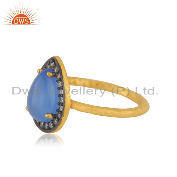 Suppliers 18K Gold Over 925 Sterling Silver Blue Chalcedony Gemstone & White Zircon Ring