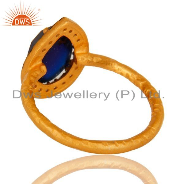 Suppliers 18K Yellow Gold Plated Sterling Silver Blue Corundum And CZ Hammered Band Ring